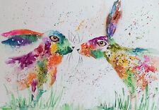 "Fridge Magnets, Hares 4.25"" x 5.5"" professionally printed from original artwork"