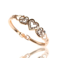 Elegante Oro Pulsera Cristal Brazalete Amor Corazon