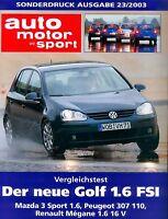 VW Golf 1.6 FSI Sonderdruck Prospekt ams 23/03 2003 reprint test Autotest Auto