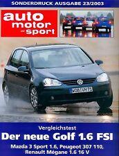 VW Golf 1.6 FSI Sonderdruck Prospekt ams 23 03 2003 Auto PKWs Deutschland Europa