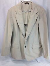 LL Bean Blazer Jacket Suit Coat Mens 42 R Beige 100% Cotton Machine Washable