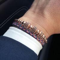 Anil Arjandas Rose Gold Plated CZ Stoppers Braiding Macrame Bracelet Men Jewelry