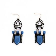 Boucles d`Oreilles Argenté Noir Bleu Foncé Marine Art Deco Vintage Cadeau BB 2