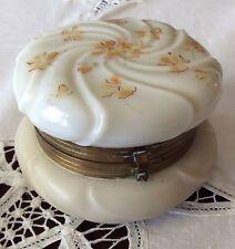 Antique Victorian Wavecrest Jewelry Casket Hand Painted Floral Dresser Jar Box