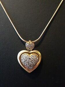 18ct Gold & Diamond Heart Pendant Necklace