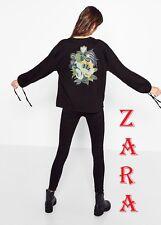 ZARA Black Sweatshirt with Back Large Patch Long Sleeve Gather Drawstring Cuff L