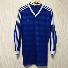 ADIDAS VINTAGE FOOTBALL SHIRT 80s LONG SLEEVE BLUE sz 7/8