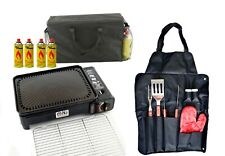 Camping Gas Barbecue Cooker Portable Grill BBQ Butane Stove 2200W Bag Apron Set
