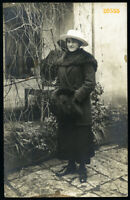 pretty girl smiling in white hat, muff, Vintage Photograph, 1900's Hungary