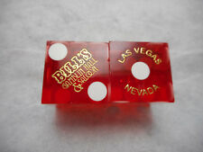 Pair of Closed BILL'S GAMBLIN HALL LV Casino Dice - Clear Red, #s 1387