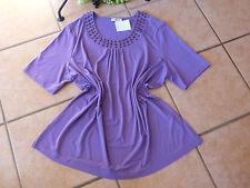 DONNA LISA Damen Shirt 44 46 48 NEU mit Holzschmucksteinen lila Stretch