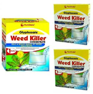 3x PestShield Lawn Weed Killer Concentrate Glyphosate 1x Sachet 32 Sqm Coverage