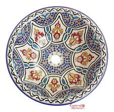Lavare marocchino Bacino lavandino in ceramica fatto a mano dipinto a mano 41 CM (rif. sw213)