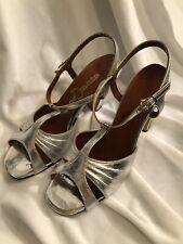 Vintage 1980s Women'S Silver Open Toe Heels Size 6.5 M