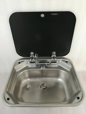Boat RV Stainless Steel Basin Sink with Tempered Glass Lid 420*370*145mm GR-586