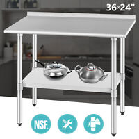 NSF Heavy Duty Stainless Steel Prep Work Table with Crossbar 24 x 36 and Casters Wheels