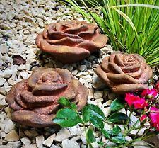 Rose 3er Set Rosenblüte Stein Rosen Blüte Blumen Steinguss frostfest  Garten Ros