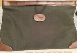 Orvis hunter green canvas/dark brown leather envelope-spring closing; EUC 17x12""