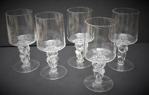 Set of 5 stem wine glasses grape moulded bubble stems clear straight sides.