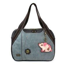 Chala Handbag Bowling Zip Tote Large Bag Indigo Blue Pleather Pig Coin Purse 63dc9f80c406b