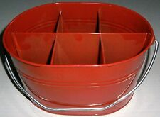 Outdoor Cooking And Eating Flatware Carrier W/ Handle Red Metal