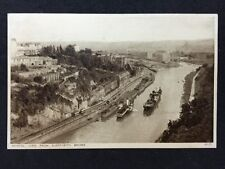 Vintage Postcard - Bristol #11 - RP From Bridge - Steam Boats Trams