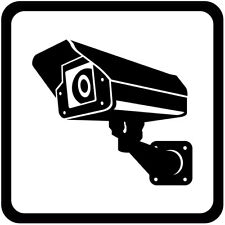 45-200mm CCTV Large Camera White Square Sign Sticker Safety Warning Camera