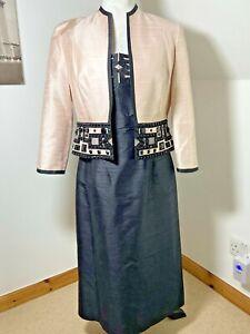 Condici Dress & Bolero Size 12 Pink & Black Mother of the Bride Silk Beaded