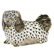 Herend, Pekingese Dog Figurine, Black Fishnet, Flawless, Retail $425