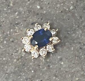 Vintage BH Effy 14K Yellow Gold Blue Sapphire & Diamond Halo Pendant Necklace