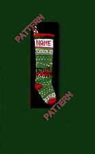 Pattern only ~ hand knit Christmas stocking,  train, holly and snowflake