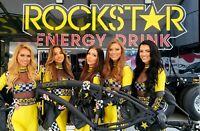 Fat Tire Beach Cruiser Bike black with black rims Rockstar Energy logos 3S NEW