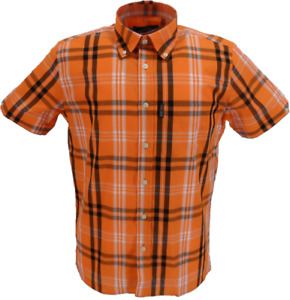 Trojan Mens Orange Check 100% Cotton Short Sleeved Shirts and Pocket Square