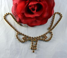 Vintage Dazzling Amber Rhinestone Necklace Cat Rescue
