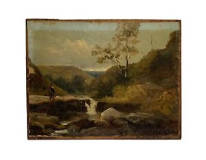 Antique 19th Century OIL PAINTING SIGNED with INITIALS