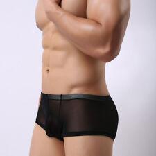 Herren Sexy Unterwäsche Unterwäsche Boxershorts Transparente Netz Slips Trunks B