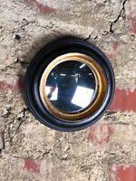 """Glace / miroir """"Batignolles"""" noir et patine dorée oeil de sorcière diam 18 cm"""