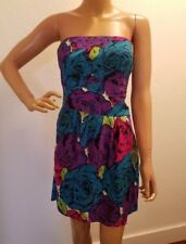 BETSEY JOHNSON stretch SILK sexy strapless mini dress sz 4 floral print bustier