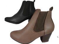 Womens Ladies Leather Look Zip Ankle Boots Brown & Black Low Block Heel