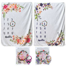 Cute Infants Newborn Baby Milestone Photography Blanket Mat Prop Monthly Growth