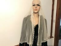 Antique Tulle Lace Scarf / Stole 58x18 Inches