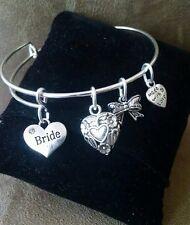 Expandable Bangle Charm Bracelet BRIDE Wedding Bridal Party