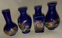Vtg Cobalt Blue Lot Of 4 Peacock Pheasant Flower Cart Mini Vases