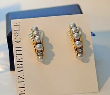 Elizabeth Cole Gold-Plated Swarovski Crystal and Pearl Earrings-Stunners!!