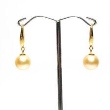 South Sea Pearl Earrings, 9.6mm pearls,18k gold hook, Natural Golden, Australian