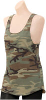 Womens Camo Racerback Tank Top Long Vintage Soft Military Army Racer Back