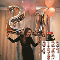 New Rose Gold Number Balloons Foil Baloon Flying Air Balls Birthday Decoration