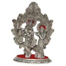 Silver Oxidase Metal Radha Krishna Standing playing flute with Mehrab at Back