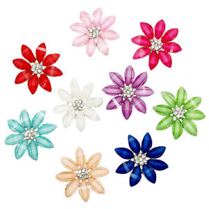 5pc Mixed Alloy Rhinestone Flowers Flatback Buttons for Crafts Decorations 25 mm