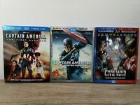 Captain America Trilogy Collection Blu- Ray DVD Lot Complete Set w Slipcovers 3D